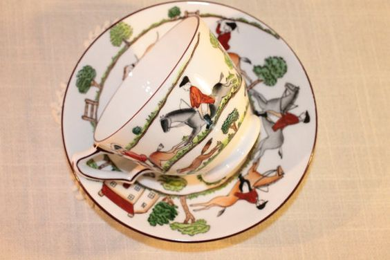 Crown Staffordshire Hunting Scene Cup and Saucer by OhThatsAFind, $30.00