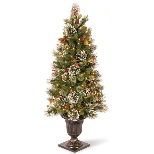 4ft Pre Lit Wintry Pine Artificial Christmas Entrance Tree Clear Lights Christmas Tree Clear Lights Pine Christmas Tree Artificial Christmas Tree