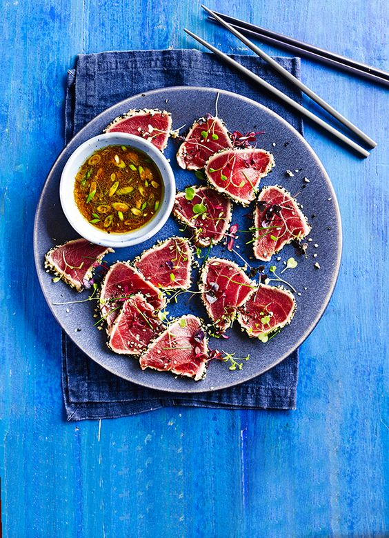 seared tuna tataki. This simple Asian dish is super-healthy and will have your tastebuds singing. It's only 211 calories, too. Ask your fishmonger for sashimi-grade tuna.