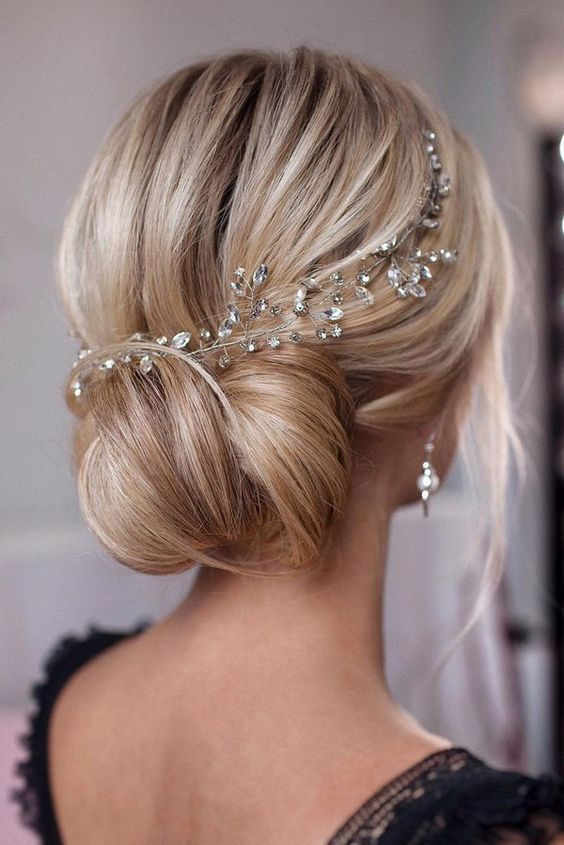 Romantic Bridal Updos Sophisticated Wedding Low Bun Hairstyle Idea With Magnificent Hairpiec Crystal Hair Vine Wedding Hair Head Piece Bridal Hair Headpiece