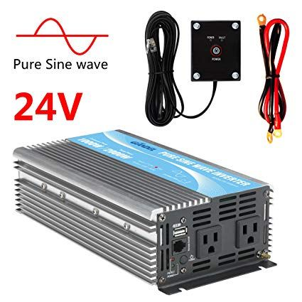 WZRELB Power Inverter Pure Sine Wave 3500W 12V DC to 110V 120V with Remote Control Dual AC Outlets for RV Car Solar System