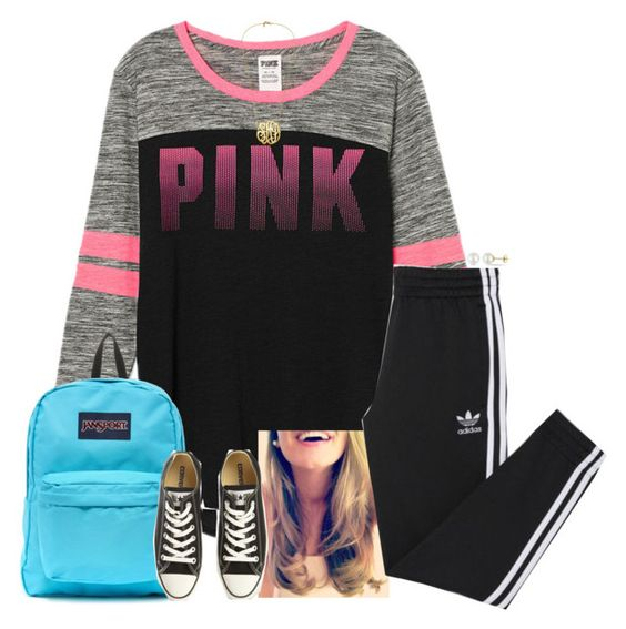"""""""Josie"""" by teamboby ❤ liked on Polyvore featuring Victoria's Secret, adidas, JanSport, Converse, Miadora, women's clothing, women, female, woman and misses"""