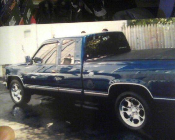 Car #20: 1993 Chevy Silverado; navy blue and silver with a Brahma top.