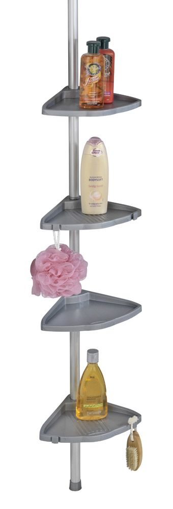 Das Eckregal COMPACT in silberfarben ist universell einsetzbar in der Duschkabine, in der Badewannenecke oder im Badezimmer und bietet ideale Ablagemöglichkeiten für Shampoo, Seife und andere Bad-Utensilien.