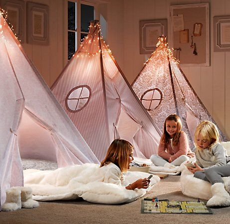 Printed Cotton Canvas Play Tent: Available in petal damask, dove damasl or antique stripe. Comes with Collapsible aluminum poles, velcro tabs to open and close the front door, and a matching storage bag. #Tent #Kids