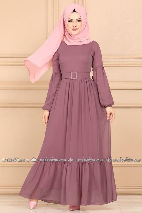 Modaselvim Elbise Balon Kol Sifon Elbise 5190ay342 Gul Kurusu Sifon Elbise Islami Giyim Elbise