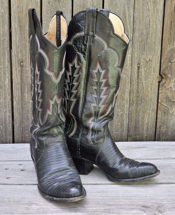 Panhandle Slim Genuine Cowgirl Western Black Lizard Boots 6 1/2 B Cowboy  #PANHANDLESLIM #CowboyWestern