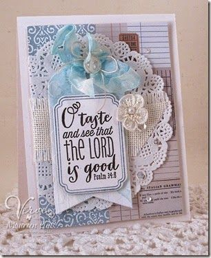 Card by Maureen Plut using Psalm 34:8 and Small Packages from Verve.  #vervestamps