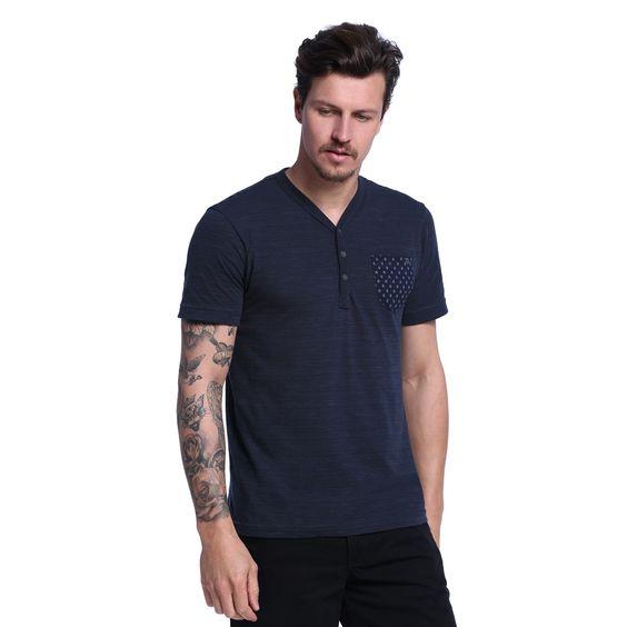 Camiseta Masculina Detalhe Bolso - Damyller