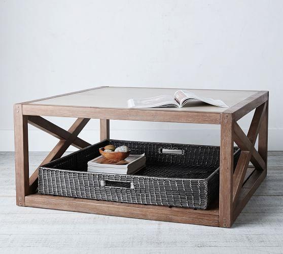 Garrett Woven Oversized Basket Tray Black Coffee Table Pottery