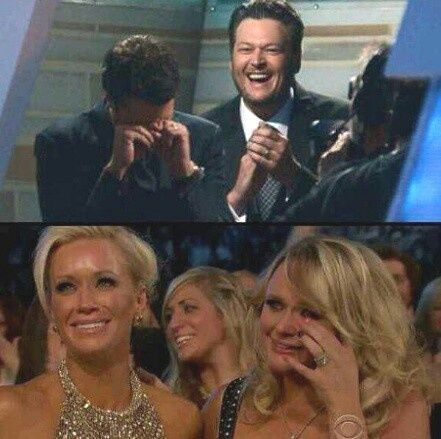 miranda & blake reactions when luke bryan won entertainer of the year.. sweetest.