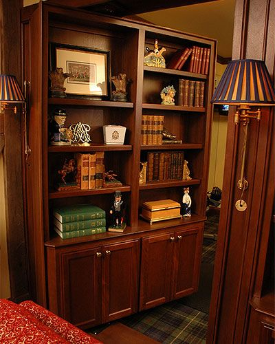 This standard, built-in bookshelf opens to a bedroom. The built-in - This Standard, Built-in Bookshelf Opens To A Bedroom. The Built-in