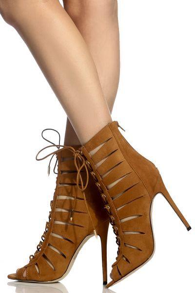 Mocha Faux Suede Cut Out Peep Toe Lace Up Heels | LACE | ME | UP
