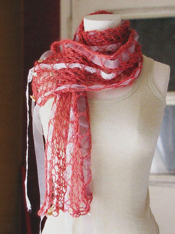 Heidianne Scarf  Romantic Rose by EfiaFair on Etsy, $65.00