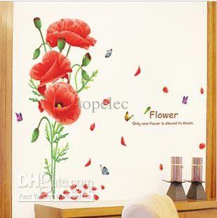 grandes flores vermelhas adesivos de parede decalques posters decoração para