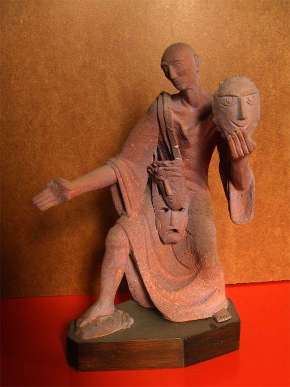 #Ceramic Circus / Stage Performer Sculptures or #by #sculptor Gizo Sirbiladze titled: 'Cameleon (sculpture of an Actor Drama sculptures)'. #art #artist #artwork #GizoSirbiladze