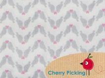 Bio Stoff Vogel Paar Popeline Baumwolle grau Stoff