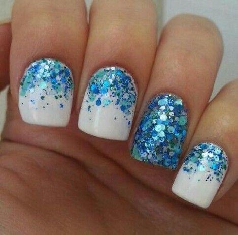 50 Lovely Glitter Nail Designs Trendy Nails Sparkle Nails Blue Glitter Nails