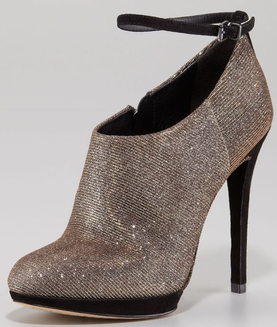 B by Brian Atwood Sparkle Ankle Strap Booties