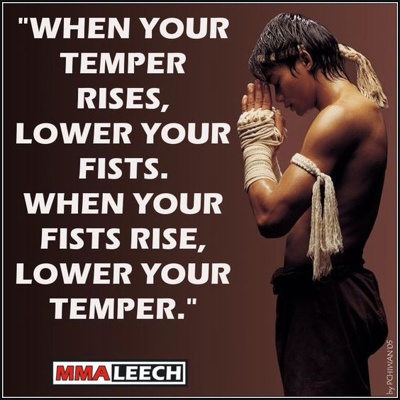"""When your temper rises, lower your fists. When you fists rise, lower your temper."""