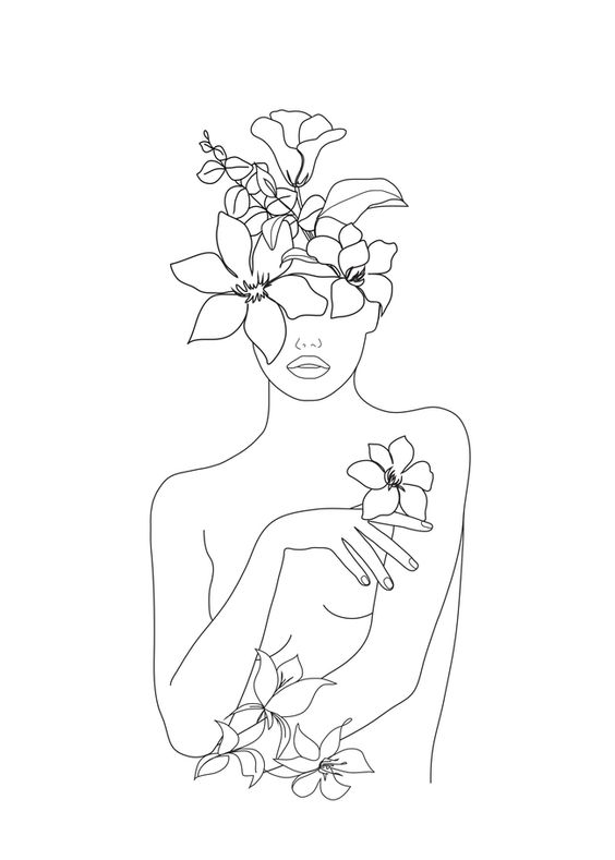 "Minimal Line Art Woman with Flowers IV Mini Art Print by Nadja - Without Stand - 3"" x 4"""