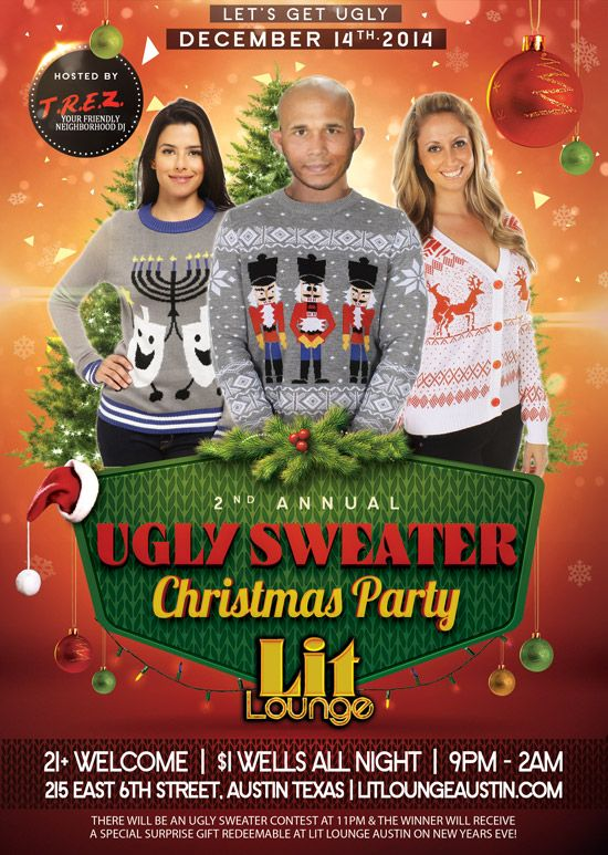 Ugly Sweater Party | http://www.nightlifeatx.com/events/ugly-sweater-party/ nightlife ATX nightlife nightlifeatx austintx austin tx texas austin events nightclubs bars 6thStreet West 6th Sixth Street acl sxsw bartender bar photography