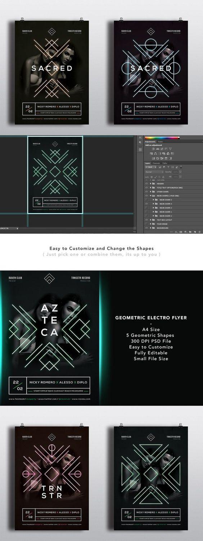 geometric electro flyer template flyer templates flyer geometric electro flyer template flyer templates 7 00