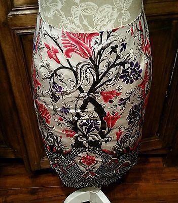 W by WORTH Size 8 Elegant Silk Blend Pencil Career Skirt pink purple floral