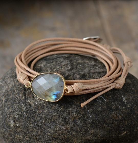 Druzy Stone Bracelet-Natural Labradorite Gemstone Bracelet-Crystal Beaded Bracelet Handmade Gift For Friends