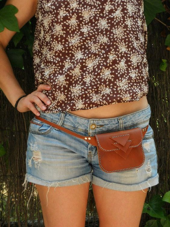 LEATHER HIP BAG / Cowhide Handmade hip bag by Lanhe on Etsy, $55.00: