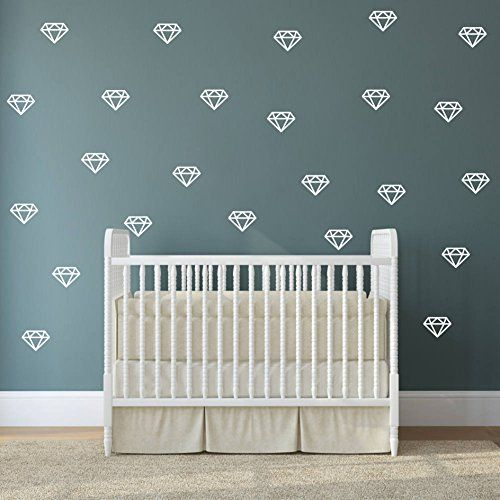 Diamond Wall Decals,Wall Art Geometric Decor,Vinyl Wall Stickers for Baby Kids Bedroom Nursery Decoration White A15