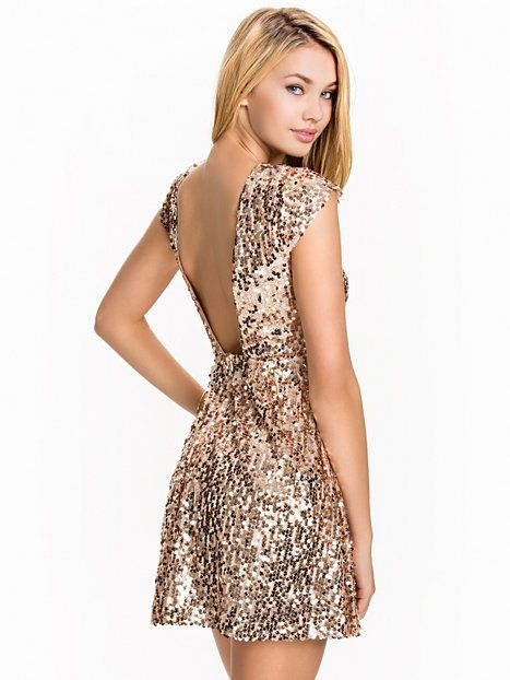 Nelly.com: Sequin Skater Dress - NLY One - women - Champagne. New clothes, make - up and accessories every day. Over 800 brands. Unlimited variety.