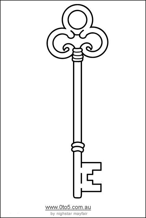 Skeleton Key Template Printable Key Drawings Keys Art Old Keys