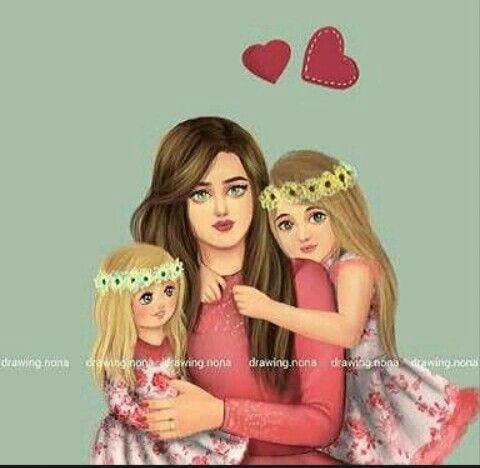 Pin Ot Polzovatelya نازیہ صدیقی Na Doske Moms With Cute Kids Portrety Devochek Semya Illyustraciya Hipster Granzh