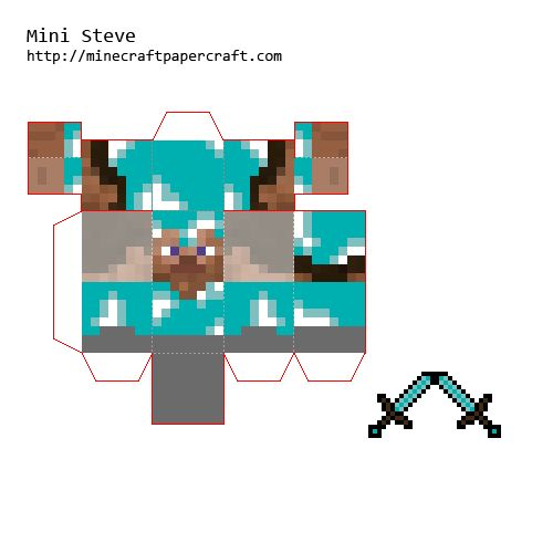 Papercraft Minecraft Mini Sword papercraft mini steves with armour and ...