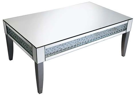 Rumba Sophisticated Mirror Glass Coffee Table with Glass Crystal Decoration