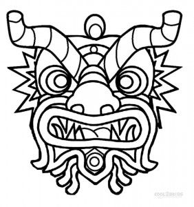 Chinese New Year Mask Coloring Pages Chinese New Year Dragon New Year Coloring Pages Dragon Coloring Page