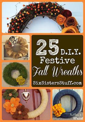 Feeling crafty? 25 DIY Festive Fall Wreath Tutorials. SixSistersStuff.com #wreaths #DIY #tutorials