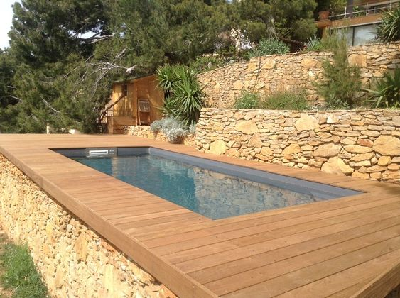 Minis piscines and marseille on pinterest for Piscine teck semi enterree