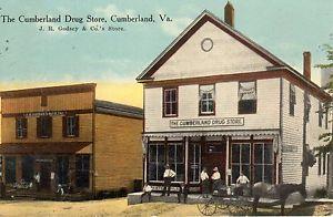 1915-CUMBERLAND-VA-W-E-BURGESS-View-Drug-Store-J-R-Godsey-Co-s-Store