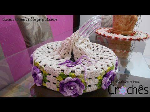 Porta Pratos de Crochê com flores por Carine Maria Strieder - YouTube