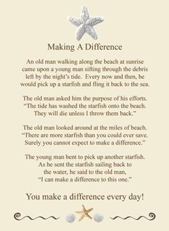Making a difference starfish story and cards on pinterest
