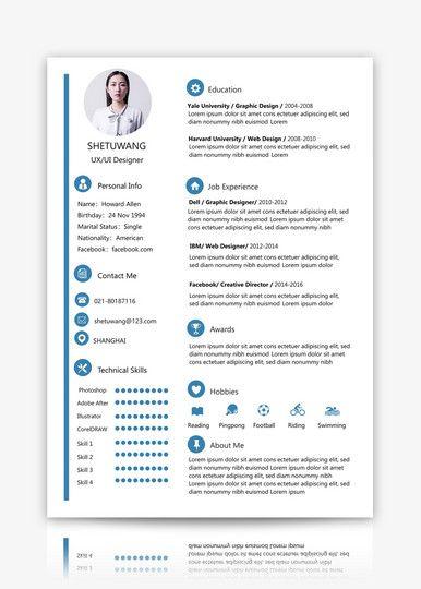 Resume Sample Download Cv Template Lovepik Com Resume Words Resume Design Free Resume Template