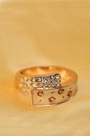 Rhinestone Ring With Leopard Print