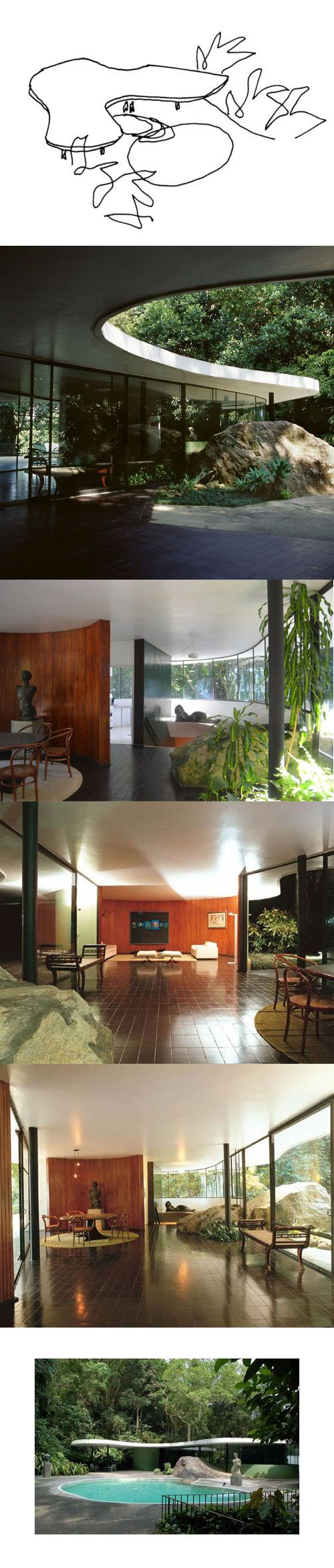 """En 1951, el arquitecto modernista Oscar Niemeyer diseñó y construyó su propia residencia, la Casa das Canoas, en Río de Janeiro, Brasil. """"Mi preocupación fue el diseño de esta residencia con plena libertad, adaptándola a los desniveles del terreno, sin alterarla, lo que lo convierte en curvas, con el fin de permitir que la vegetación penetre ellos, sin la separación explícita de la recta."""" - Oscar Niemeyer:"""