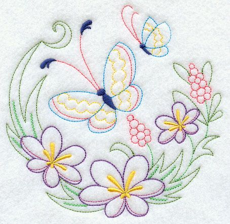 Butterflies Butterfly Pattern And Flower Embroidery On