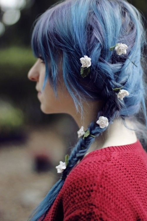 multi-tonal blue braid with flowers in the hair - adorable