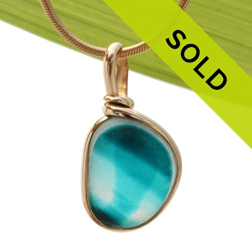 Electric Turquoise Multi English Sea Glass Pendant In Gold Wire Bezel©