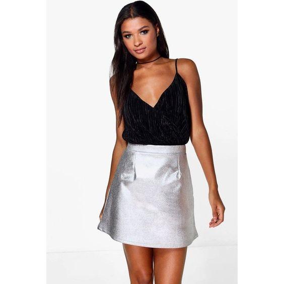 Boohoo Night Amala Metallic A Line Mini Skirt ($16) ❤ liked on Polyvore featuring skirts, mini skirts, silver, mini skirt, short mini skirts, short white skirt, midi skirt and mid calf skirts