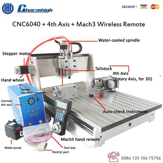 CNC6040Z + de 4 Ejes + Remoto Inalámbrico 800 w husillo 1.5kw Mach3 ...